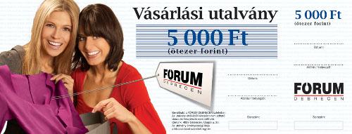 FÓRUM Debrecen Vásárlási utalvány